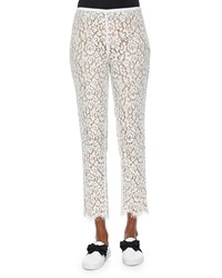 Michael Kors Collection Floral Lace Skinny Cropped Pants Size 2 Optic White