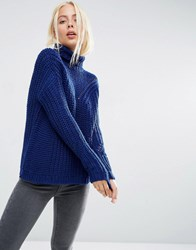 Asos Jumper With Moving Rib Cobalt Blue
