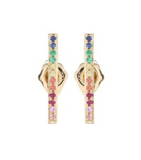 Sydney Evan Rainbow Medium Bar Gold Stud Earrings With Sapphires Rubies And Emeralds