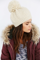 Urban Outfitters Fleece Lined Oversized Pom Beanie Ivory
