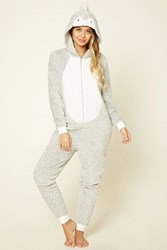 Forever 21 Penguin Plush Pj Jumpsuit Grey Cream