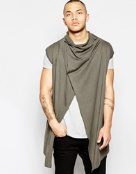 Asos Sleeveless Cardigan With Wrap Body And Cowl Neck Green