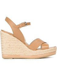 Hogan Wedged Sandals Nude And Neutrals