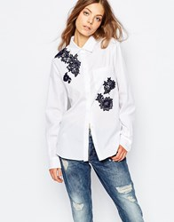 Sportmax Code Longsleeve Shirt In White With Embroidery White