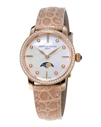 Ladies' Slimline Moonphase Rose Gold Diamond Watch Frederique Constant