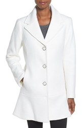 Kensie Women's Notch Lapel Peplum Coat Ivory