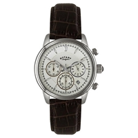 Rotary Gs02876 06 Men's Monaco Collection Chronograph Crocodile Leather Watch Brown
