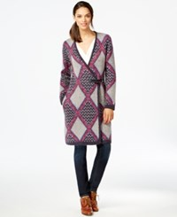 Tommy Hilfiger Printed Toggle Front Sweater Coat Masters Navy