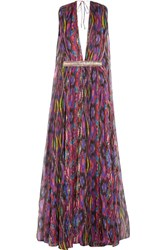 Matthew Williamson Sweetie Ragadang Embellished Printed Silk Chiffon Gown Fuchsia