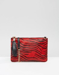 Urbancode Leather Pony Detail Clutch Bag With Optional Shoulder Strap Re1 Red 1