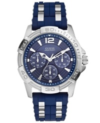 Guess Men's Chronograph Blue Silicone And Silver Tone Bracelet Watch 43Mm U0366g2