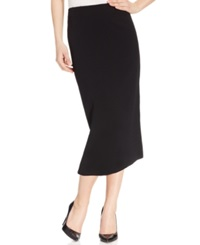 Kasper Crepe Pencil Midi Skirt Black