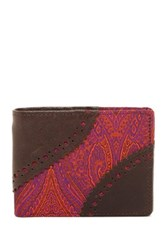 Robert Graham Oman Leather And Silk Slim Bifold Wallet Purple