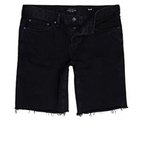 River Island Mens Black Slim Fit Frayed Denim Shorts