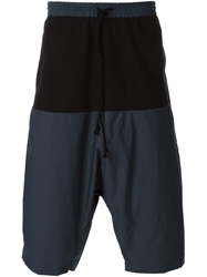 Lost And Found Contrast Panelled Drop Crotch Shorts Blue