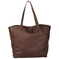 Fat Face Shaped Buckle Tote Bag Chocolate