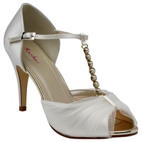 Rainbow Club Adrianna Satin And Tulle Stiletto Heel Court Shoes Ivory