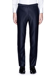 Tomorrowland Slim Fit Silk Tuxedo Stripe Wool Pants Blue