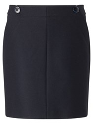 Jigsaw Pressed Flannel Buttoned Mini Skirt Navy