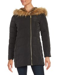 Cole Haan Signature Faux Fur Lined Hooded Quilted Down Coat Black
