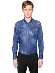Dsquared Distressed Washed Denim Western Shirt
