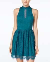 Trixxi Juniors' Lace Fit And Flare Dress Teal