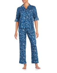 Lauren Ralph Lauren Petite Classic His Shirt Long Sleeve Pajama Set Blue