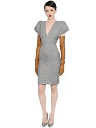 Gareth Pugh Prince Of Wales Wool V Neck Dress