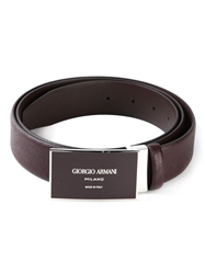 Giorgio Armani Logo Plaque Belt Red