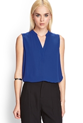 Forever 21 Sleeveless Georgette Top Royal
