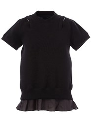 Sacai Lace Detail Short Sleeved Top Black