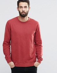 Only And Sons Crew Neck Sweatshirt With Ribbed Neck Rosewood Red