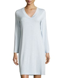 Hanro Champagne Long Sleeve Nightgown Ashley Blue