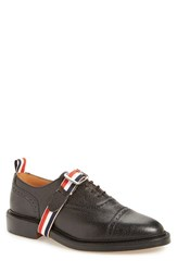 Thom Browne Men's Cap Toe Oxford With Logo Strap Black Leather