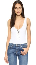 Re Named Speckled Lace Up Bodysuit White