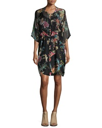 Johnny Was Betty Button Front Floral Print Dress