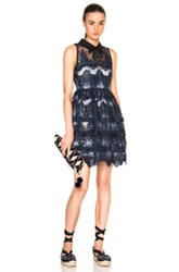 Marissa Webb Owen Dress In Blue Abstract