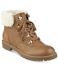 Tommy Hilfiger Tucker Lace Up Faux Fur Ankle Booties Women's Shoes Tan