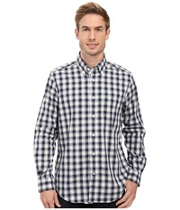 Nautica Long Sleeve Wrinkle Resistant Medium Plaid Shirt Mood Indigo Men's Long Sleeve Button Up Navy