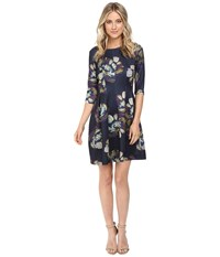 Christin Michaels Emellie 3 4 Sleeve Fit And Flare Dress Navy Multi Women's Dress