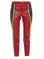 Chloe Slim Leg Cropped Leather Trousers Red Multi