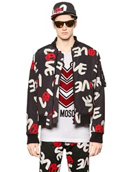 Love Moschino Love Printed Padded Nylon Bomber Jacket Black Red White