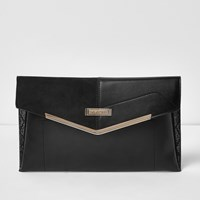 River Island Womens Black Envelope Clutch With Gold Bar