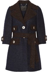 Marc Jacobs Two Tone Llama And Wool Blend Coat Navy