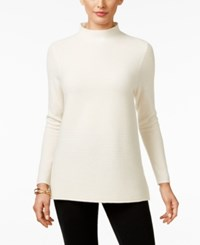 Charter Club Cashmere Ribbed Mock Neck Sweater Only At Macy's Ivory