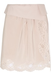 Chloe Lace Trimmed Silk Crepe De Chine Mini Skirt