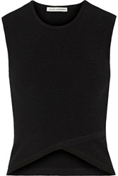 Autumn Cashmere Cutout Ribbed Jersey Top Black