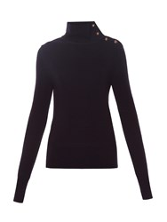 Chloe Buttoned High Neck Ribbed Knit Sweater