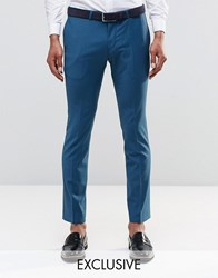 Noose And Monkey Super Skinny Trousers With Stretch Teal Green