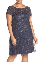 Adrianna Papell Plus Size Women's Embellished Short Sleeve Cocktail Dress